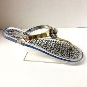 Jewel Badly Mischka Sz 9 Gold Rhinestone Sandals